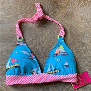Candie's | Sea Blue Sailboats Triangle Swim Top XS